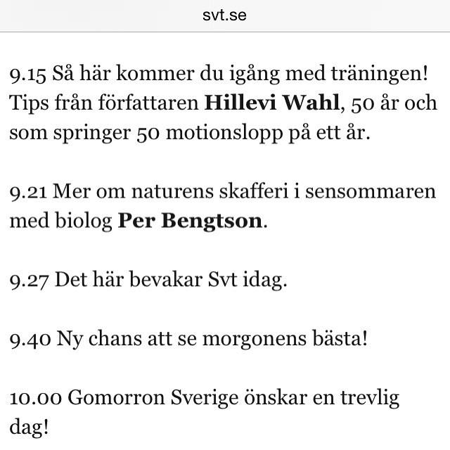 Gomorron Sverige i morgon då. Missa inte!