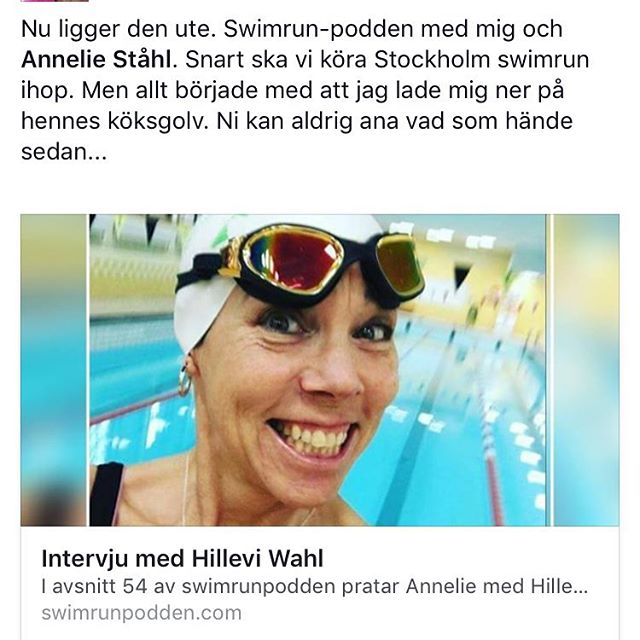 Missa inte senaste avsnittet av Swimrun-podden! Gissa vem som dyker upp där! Https://swimrunpodden.com/2017/03/01/intervju-med-hillevi-wahl/ @swimrunpodden @anneliestahl79 @coach_anna__