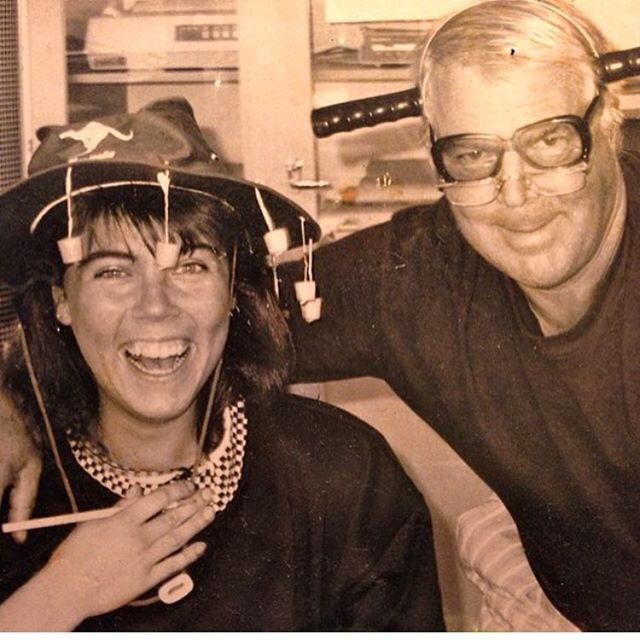 Min pappa Ove och jag. Vi hade verkligen roligt på jobbet.