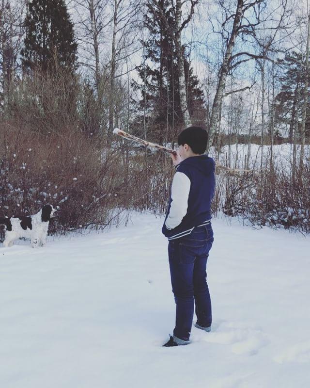 Ny OS-gren. Vinterstav. Eller kast med liten rabarberpinne.