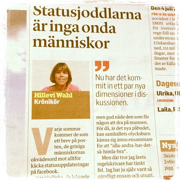 Dagens krönika i Norrtelje Tidning.