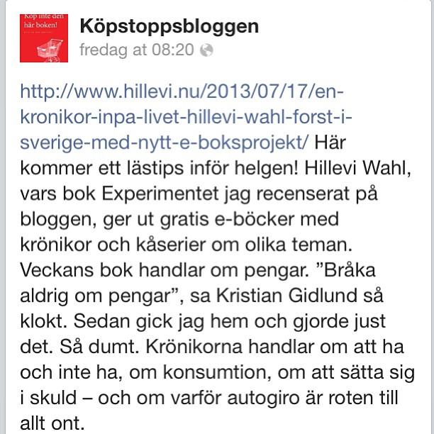 Köpstoppsbloggen rekommenderar!
