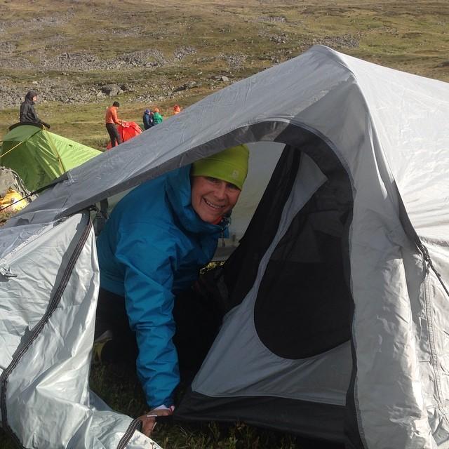 Vårt fina tält. Vi fick upp det till slut.