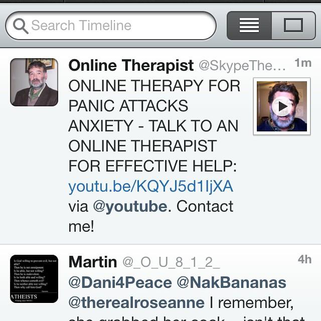 Nävetduvad. Jag är oerhört skeptisk till online terapeuter som skriker med versaler.