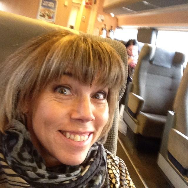 På väg mot Skövde. Ica-Stig sitter två rader bakom mig. Men jag vågar inte fråga om en selfie.