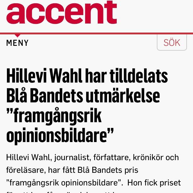 Accent skriver om priset. Kul! http://www.accentmagasin.se/nykterhet/hillevi-wahl-har-tilldelats-bla-bandets-utmarkelse-framgangsrik-opinionsbildare/