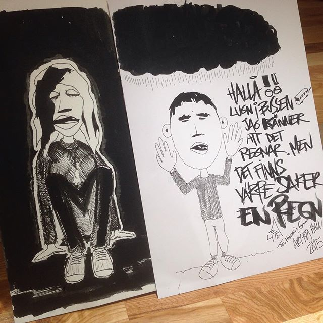 Fick två signerade teckningar av Mange Hellberg, vår nye popkung. Med personliga hälsningar. Svärta och ljus. Hand i hand. @mangehellberg