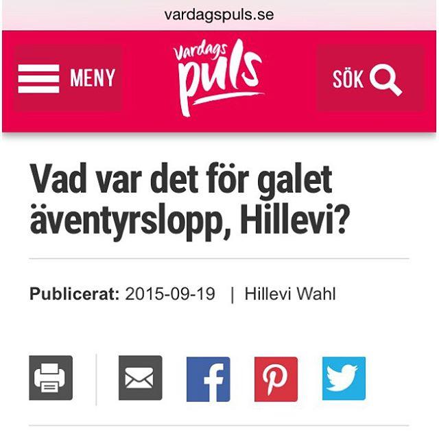 Här kommer lite blogg och info om det galna äventyrsloppet som många har frågat om. Http://www.vardagspuls.se/bloggar/hillevi-wahl/vad-var-det-for-galet-aventyrslopp-hillevi/