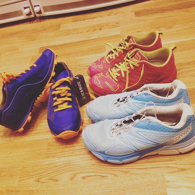 Mina tre favoritskor just nu. Mina magiska skor. Varje gång jag tar på mig mina springskor händer roliga saker!