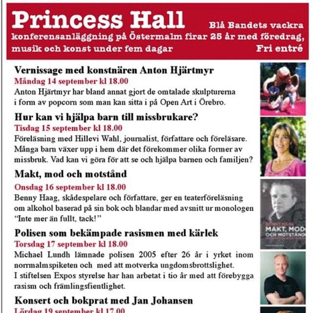 Missa inte. Tisdag kväll. Princess Hall. Dag Hammarskjölds väg 14. Vid Engelska Kyrkan. I Stockholm.