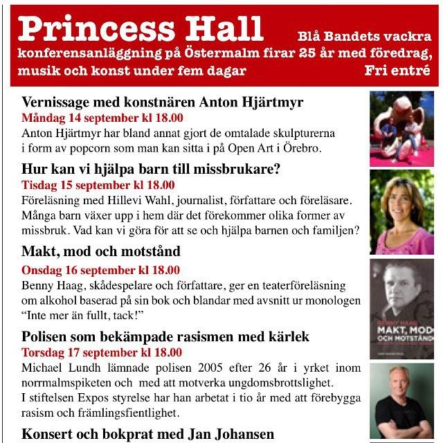 På tisdag pratar jag i pampiga Princess Hall! Äntligen. Kom och lyssna och mingla lite. Alla är välkomna. Alla.