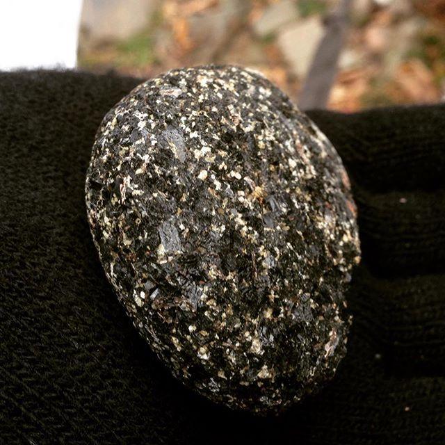 Movitz hittade en sten. Vacker.