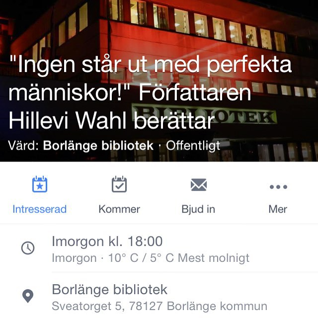 Borlänge! I morgon tisdag föreläser jag på biblioteket. Varmt välkomna! Https://www.facebook.com/events/454563578085796/