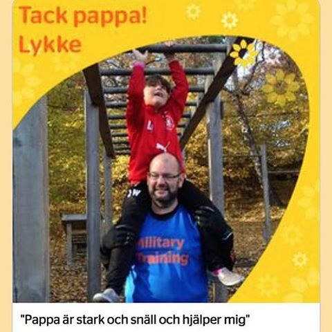 Tjoho! Lykkes fars-dags-hälsning kom med på Barnkanalen.se. Och snygga kläder har han också.