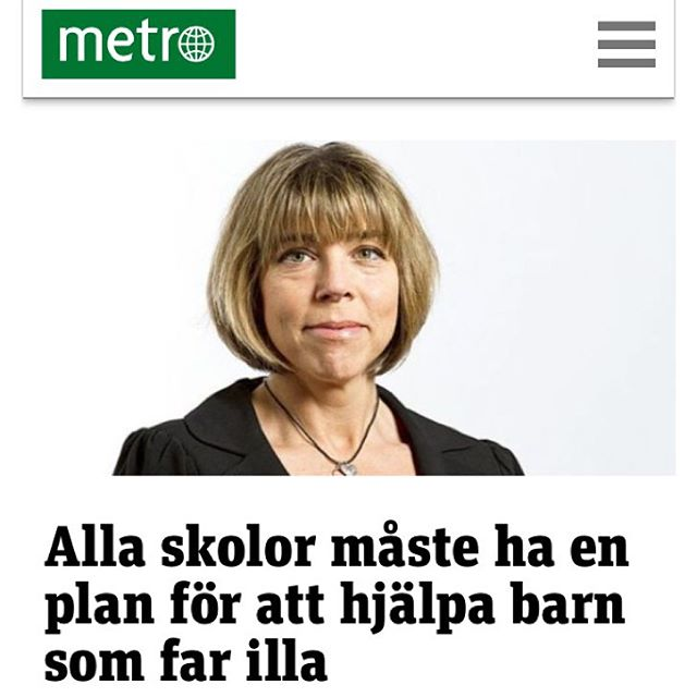 Det kan tyckas självklart. Men bara 33 procent av alla svenska skolor har det. Kräv på din skola också! Http://touch.metro.se/kolumner/hillevi-wahl-alla-skolor-maste-ha-en-plan-for-att-hjalpa-barn-som-far-illa/EVHola!LTw0yAQJVFo/