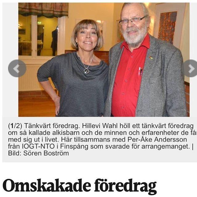 Även Folkbladet skrev fint efter föreläsningen i Finspång. Trevligt. http://www.folkbladet.se/nyheter/finspang/omskakade-foredrag-9059146.aspx