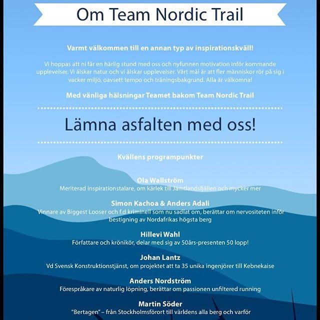 Saker jag gör. Som det här. Djurgårdsbrunn. Tisdag. Start 18.30. Det kommer att bli ett jädrans drag med Team Nordic Trails inspirationskväll. Roooligt!