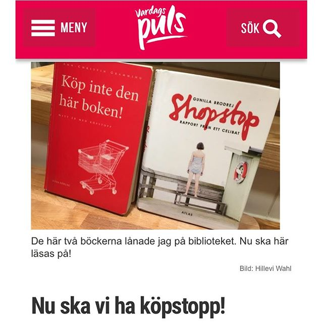 Vi ska testa att ha köpstopp. I bloggen på @vardagspuls förklarar jag varför. Och hur det går till. Vad får man köpa under köpstopp? Och hur ska man tänka för att lyckas? Http://www.vardagspuls.se/bloggar/hillevi-wahl/nu-ska-vi-ha-kopstopp/