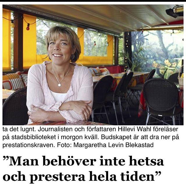 Norrtälje tidning i dag. Bra och stor intervju. Inför föreläsningen i morgon, på Kvinnodagen, Norrtälje stadsbibliotek. Varmt välkomna! Http://norrteljetidning.se/kulturnoje/1.3631458--man-behover-inte-hetsa-och-prestera-hela-tiden-