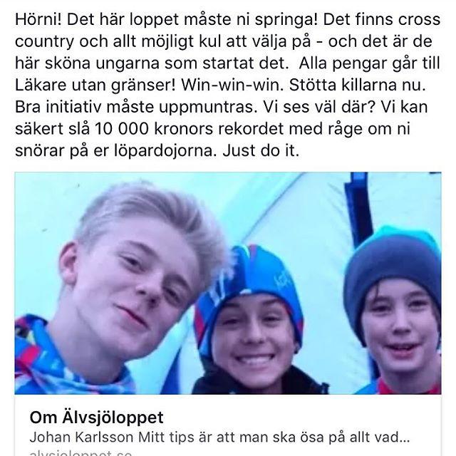 Älvsjöloppet! Hjälp killarna hjälpa Läkare utan gränser. Kom! Just do it. http://www.alvsjoloppet.se/