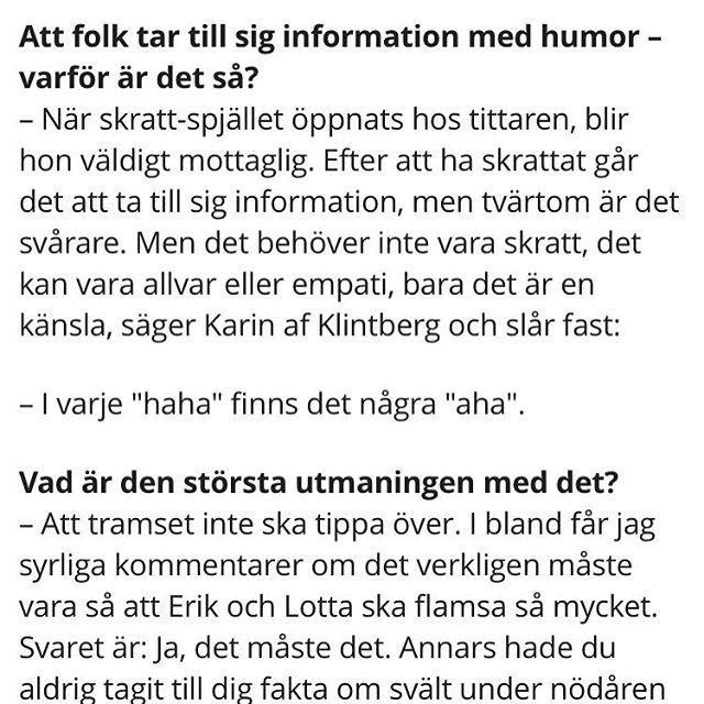 Älskar Karin af Klintberg. Ville bara säga det.