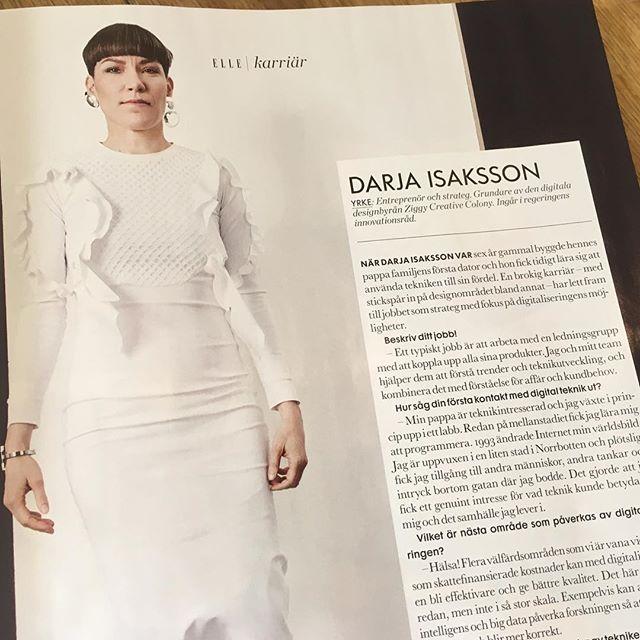 Och vem hittar man i flashiga Elle om inte världens smartaste Darja Isaksson! Coolt ju.