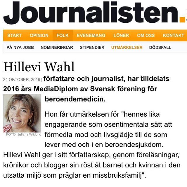 Även Journalisten uppmärksammar. Fint. Tack för alla grattis.