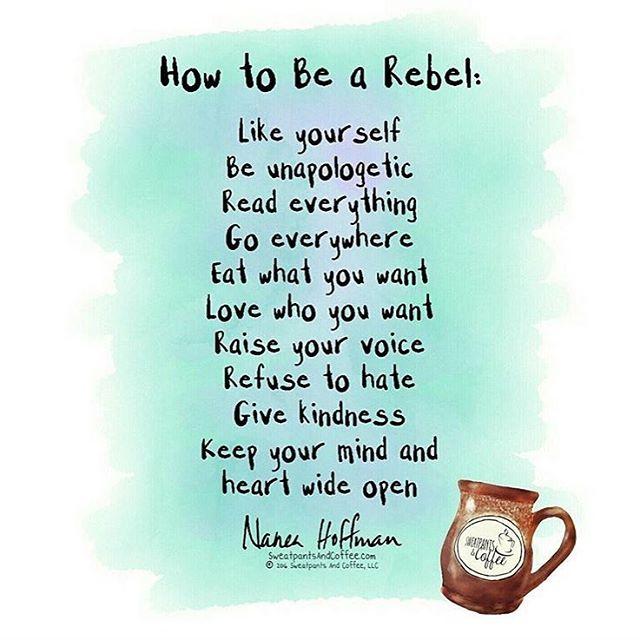 Ja! Rebellera mera! Våga. Thanks @sweatpantsandcoffee