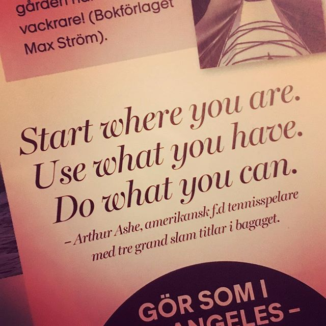 Jämför dig inte för mycket med andra. De är på en annan plats. Börja där du är.
