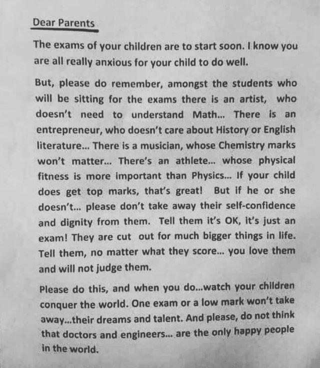 Viktigt meddelande! Speciellt såhär inför nationella prov. (Brevet är skrivet av en rektor i Singapore, till föräldrarna, inför elevernas slutprov.)