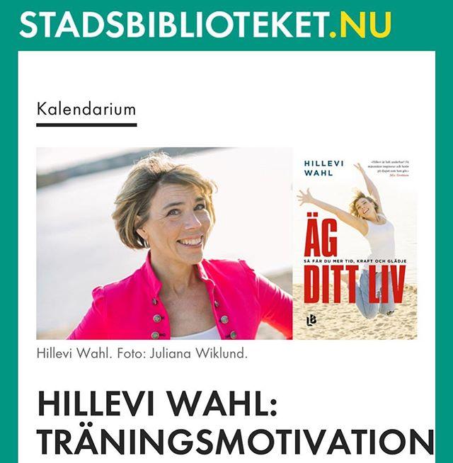 Alla mina instavänner i Göteborg! Måndag 8 oktober kommer jag och bjussar på berättelser från hjärtat och mänsklig träningsmotivation på Göteborgs Stadsbibliotek. Klockan 18.00 Äg ditt liv - så får du mer tid, kraft och glädje! Genom att förenkla våra liv kan vi hitta våra inre superkrafter. Dessutom får vi tid över till att göra det vi verkligen längtar efter och tycker är viktigt. Först då kan du äga ditt liv och din tid. Inspirationsföreläsning med Hillevi Wahl, journalist, författare, trebarnsmamma, alkoholistbarn - och numera tokig i att träna. Innan Hillevi fyllde 45 hade hon inte tränat alls. Hör Hillevi berätta om hur hon förändrade sitt liv, hittade träningsglädjen och hur det kom sig att hon sprang 50 lopp för att fira att hon fyllde 50 år. Välkommen till en inspirerande föreläsning samt boksignering!