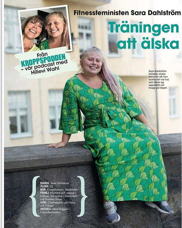 """Nytt avsnitt av Kroppspodden ute. Nu med @fitnessfeministen Sara Dahlström som jag följt på Instagram. Först var hon """"för smal"""" enligt skolsköterskans kurva. Sedan fick hon en hjärntumör när hin var 17. Då vändes allting upp och ner. I dag älskar hon sin starka kropp och är chefredaktör för Hälsa och fitness. Finns även att läsa i nya numret av Allas Veckotidning. @allas_veckotidning"""