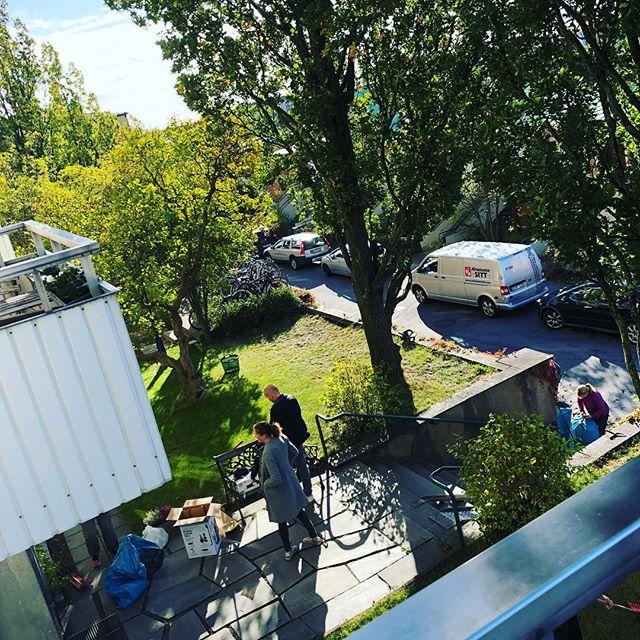 Städdag i bostadsrättsföreningen. Med högtryckstvätt. Årets största hit.